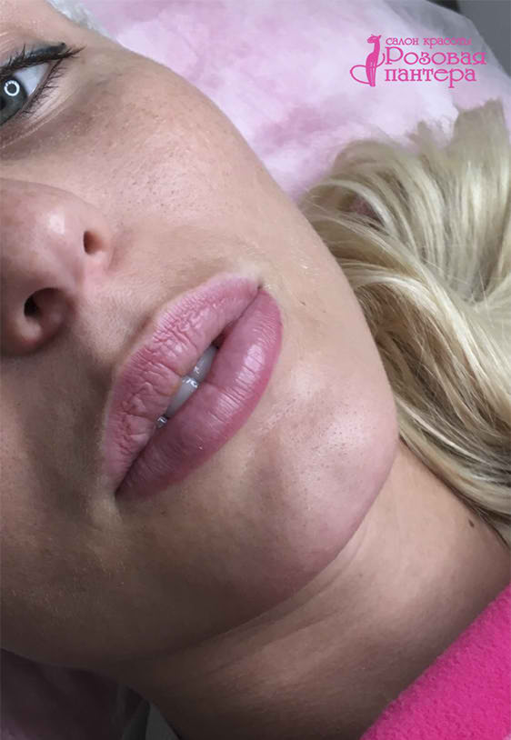 Перманентный макияж губ Минск студия Розовая пантера