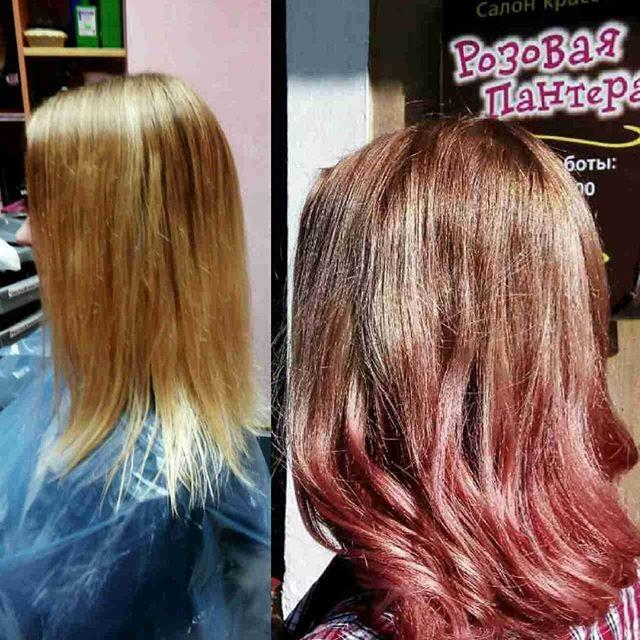 Окрашивание волос в Минске студия Розовая пантера