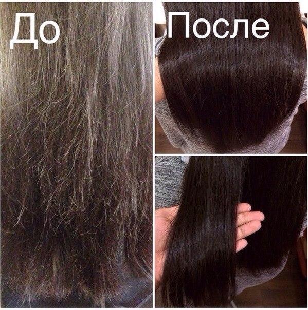 Полировка темных волос: до и после