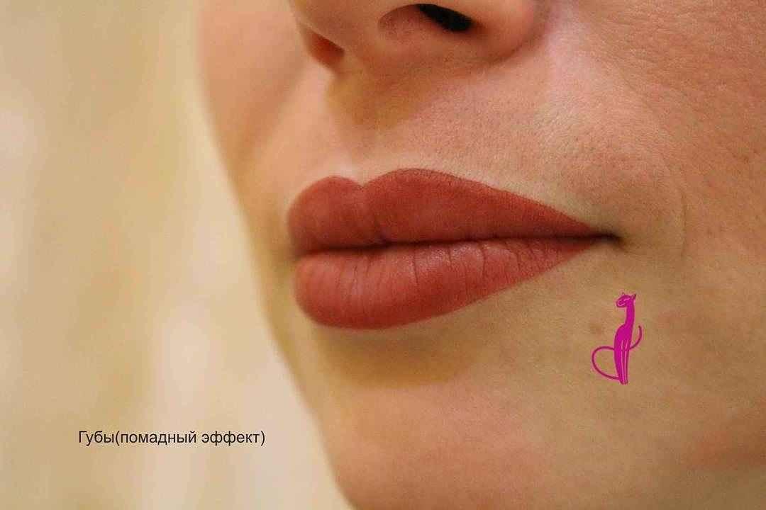 губы помадный эффект студия розовая пантера