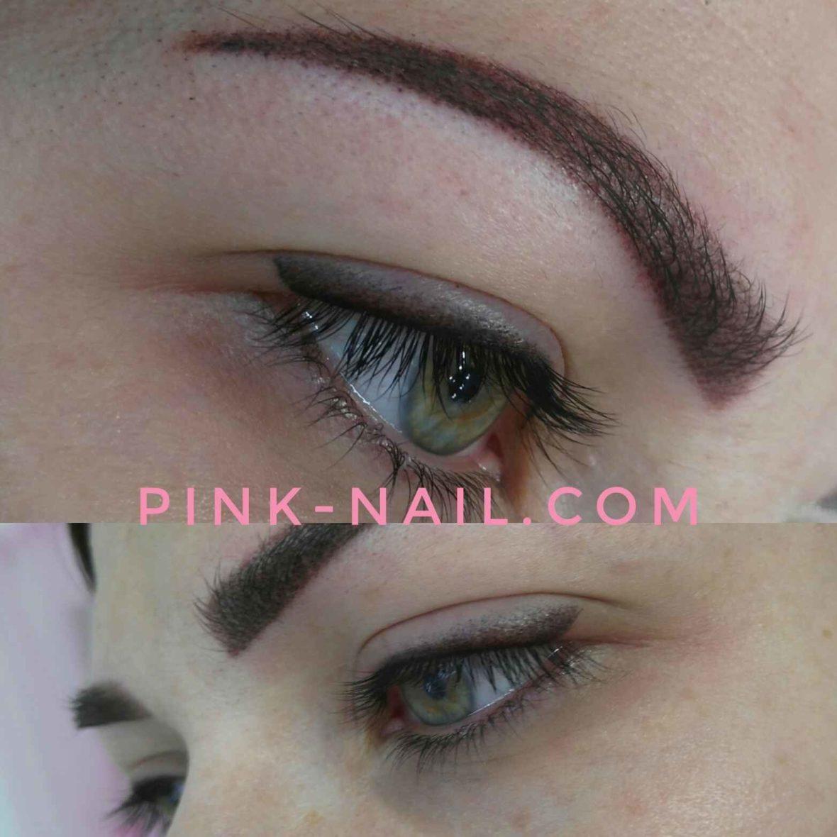 веки, брови перманентный макияж розовая пантера